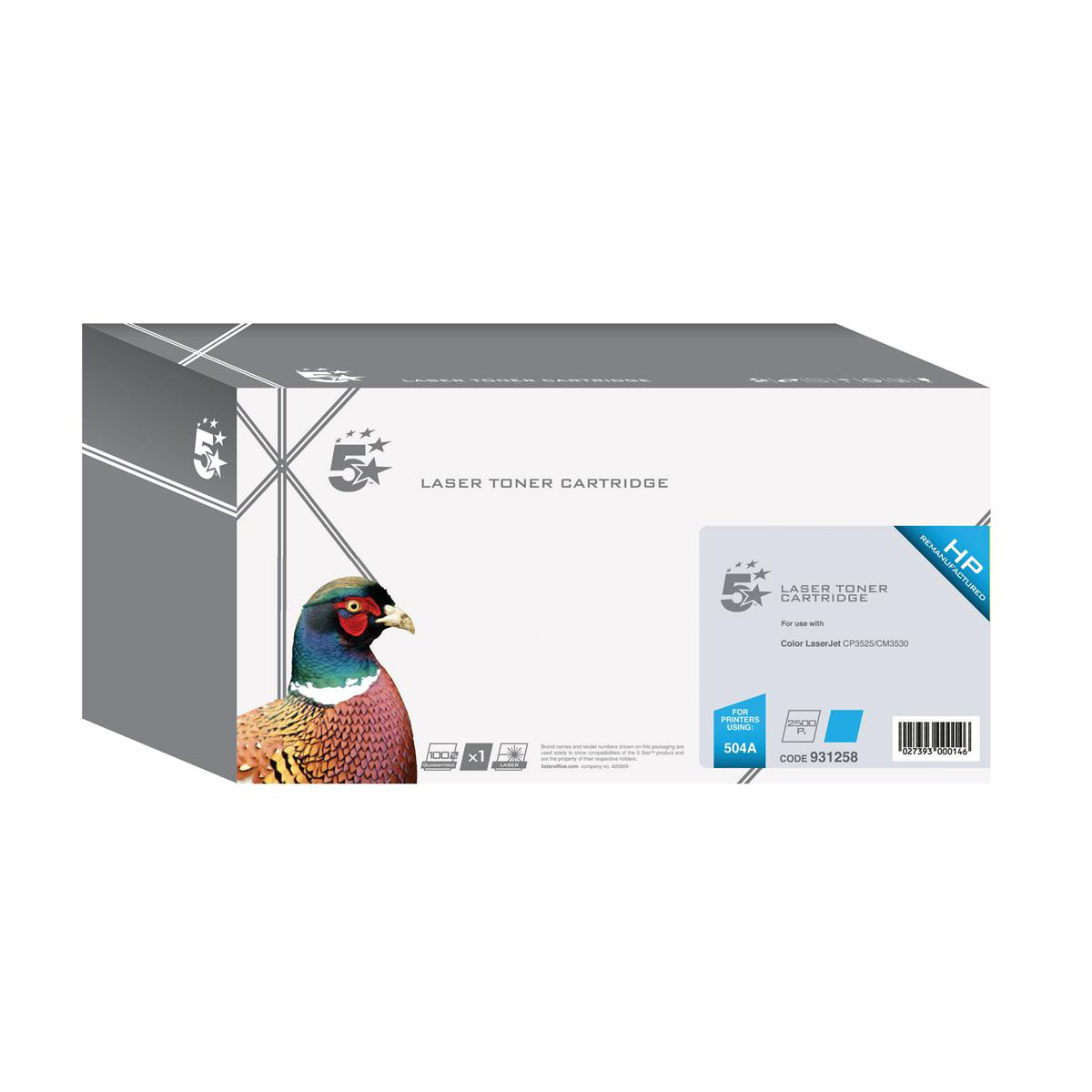 5 Star Office Remanufactured Laser Toner Cartridge 7000pp Cyan [HP 504A CE251A Alternative]