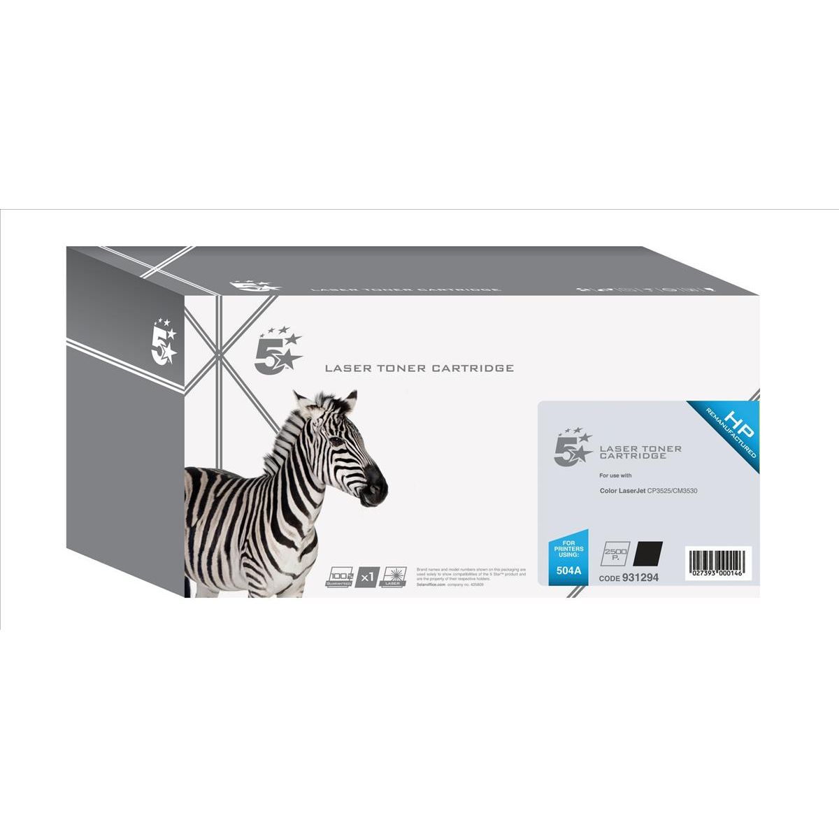 5 Star Office Remanufactured Laser Toner Cartridge 5000pp Black [HP 504A CE250A Alternative]