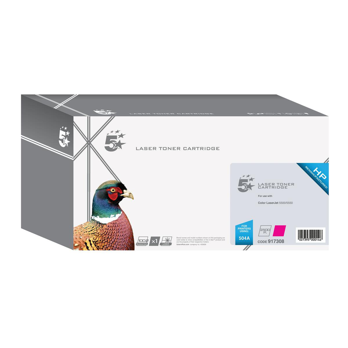 5 Star Office Remanufactured Laser Toner Cartridge 7000pp Magenta [HP 504A CE253A Alternative]