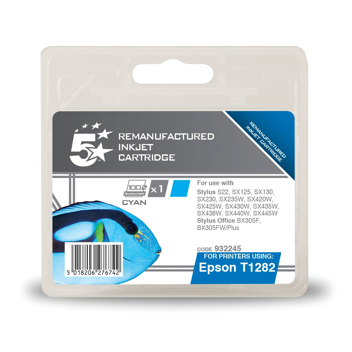 5 Star Office Remanufactured Inkjet Cartridge Page Life 250pp 3.5ml Cyan [Epson T1282 Alternative]