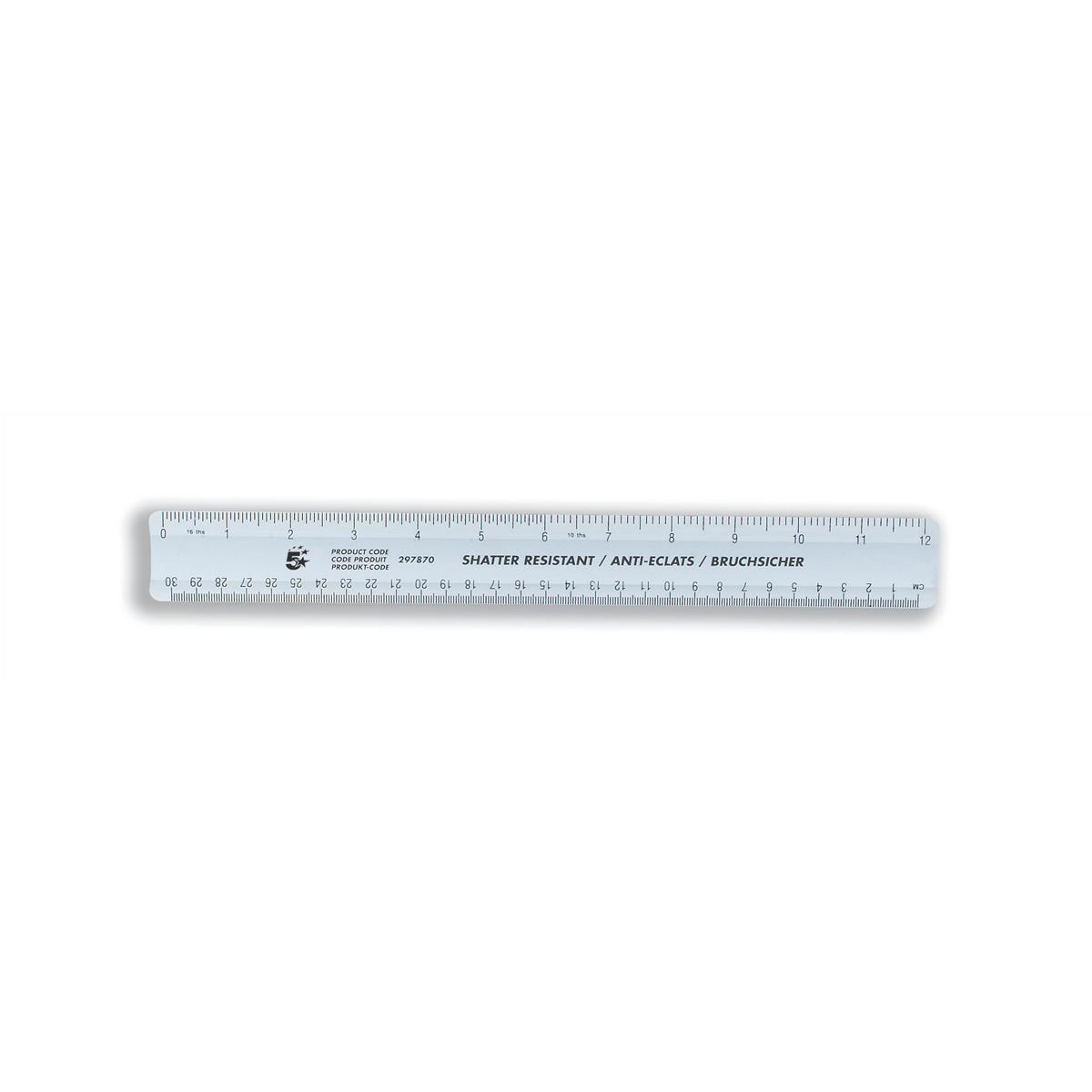 5 Star Office Ruler Plastic Shatter-resistant Metric and Imperial Markings 300mm Blue Tint Pack 10
