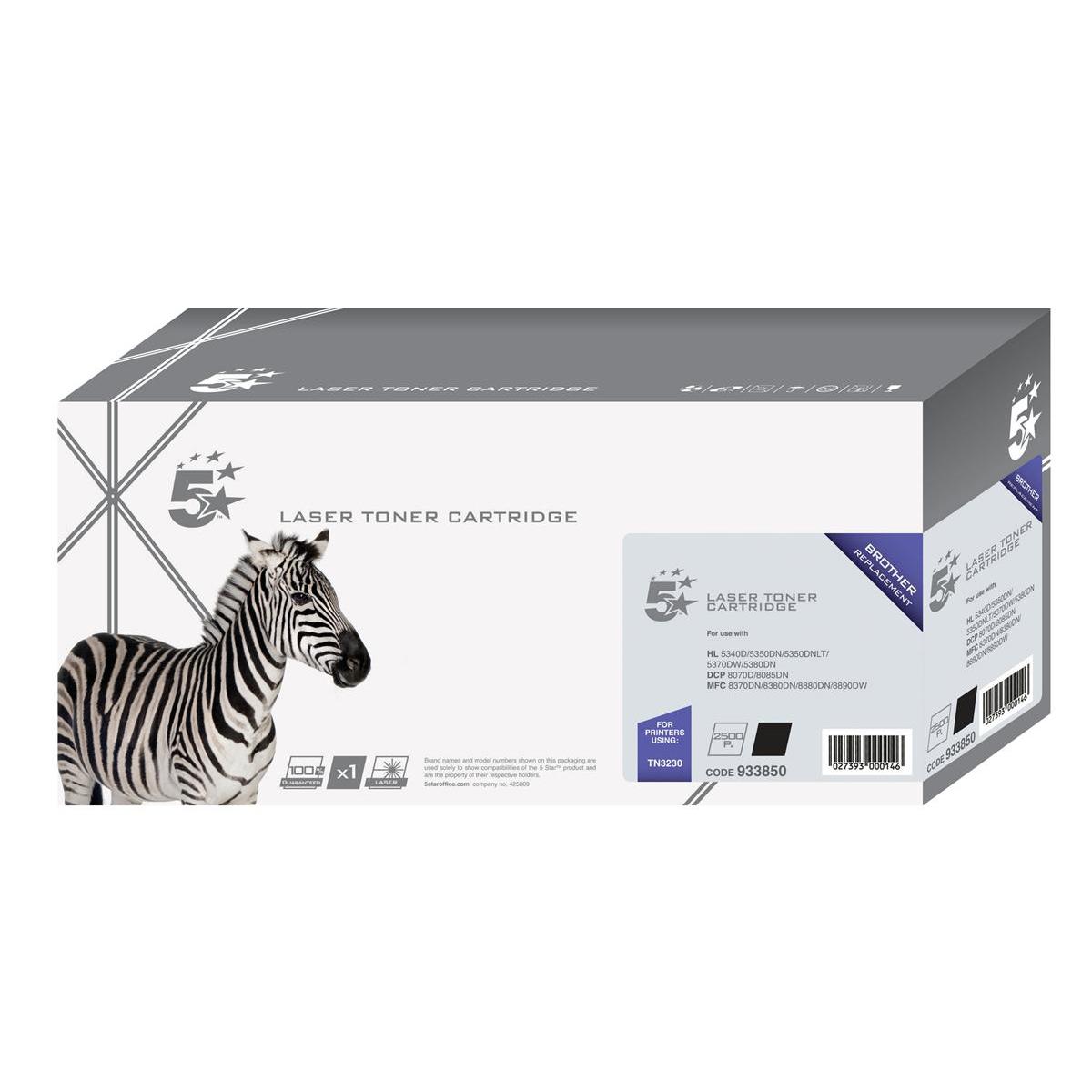 5 Star Office Remanufactured Laser Toner Cartridge Page Life 3000pp Black Brother TN3230 Alternative