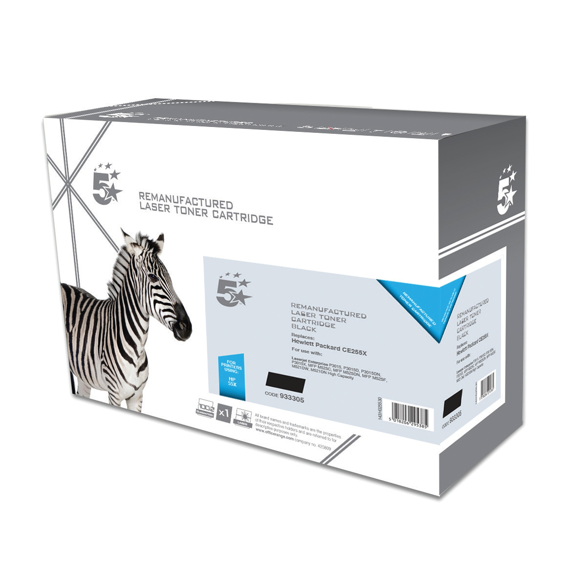 5 Star Office Remanufactured Laser Toner Cartridge HY Page Life 12500pp Black [HP 55X CE255X Alternative]