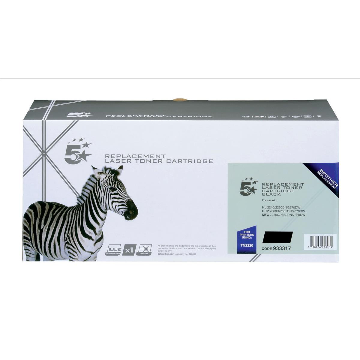 Laser Toner Cartridges 5 Star Office Remanufactured Laser Toner Cartridge Page Life HY 2600pp Black Brother TN2220 Alternative