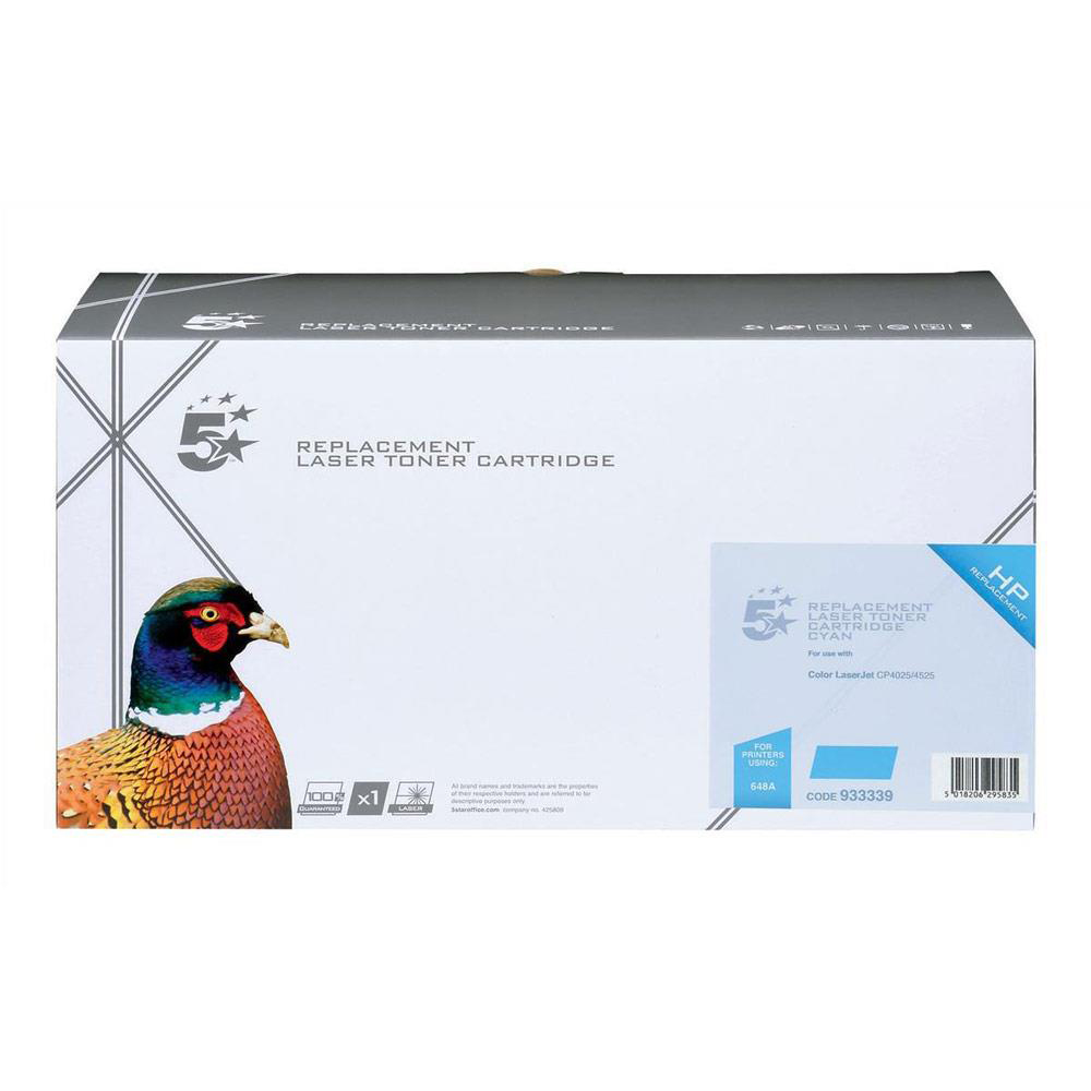 5 Star Office Remanufactured Laser Toner Cartridge Page Life 11000pp Cyan [HP 648A CE261A Alternative]