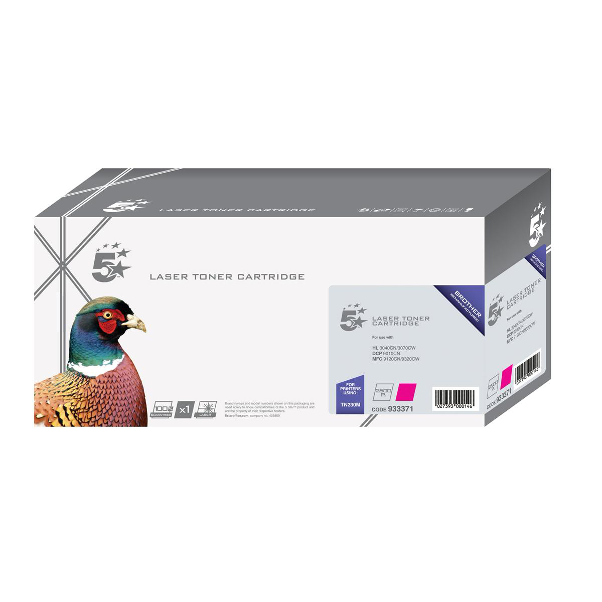 5 Star Office Remanufactured Laser Toner Cartridge Page Life 1400pp Magenta [Brother TN230M Alternative]