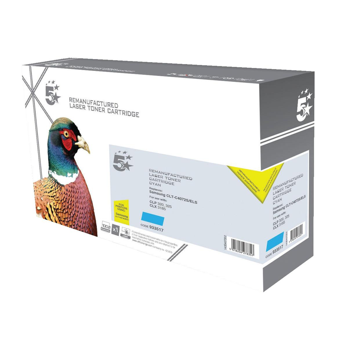 5 Star Office Remanufactured Laser Toner Cartridge Page Life 1000pp Cyan [Samsung CLT-C4072S Alternative]