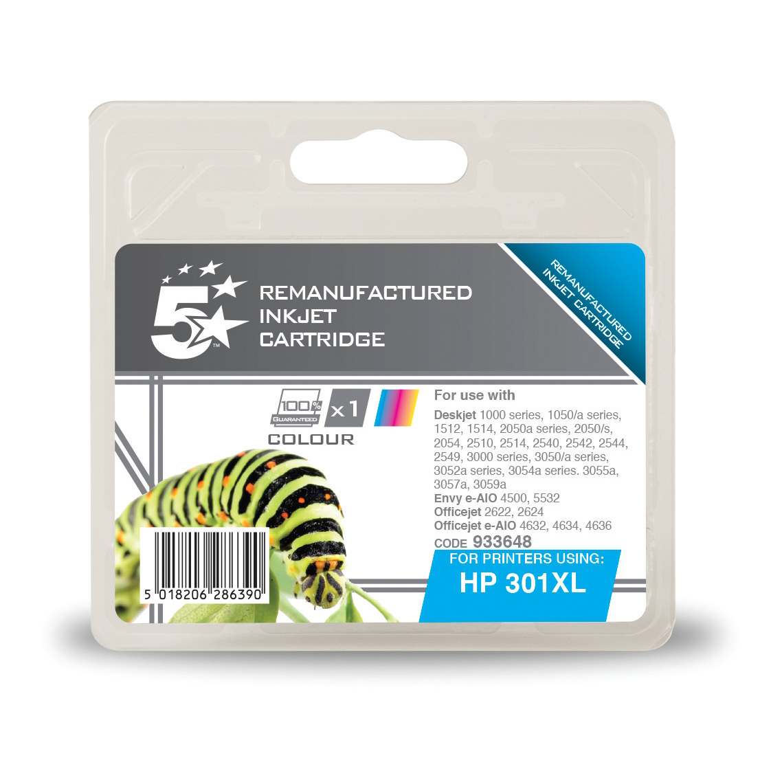 5StarOffice Reman InkjetCart High Yield Page Life 330pp 6ml Tri-Colour [HP No.301XL CH564EE Alternative]