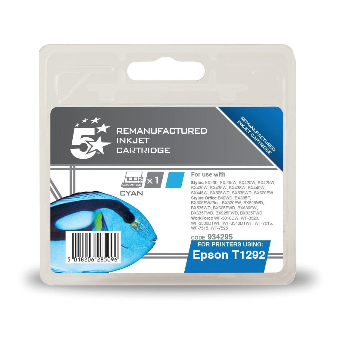 5 Star Office Remanufactured Inkjet Cartridge Page Life 445pp 7ml Cyan [Epson T1292 Alternative]