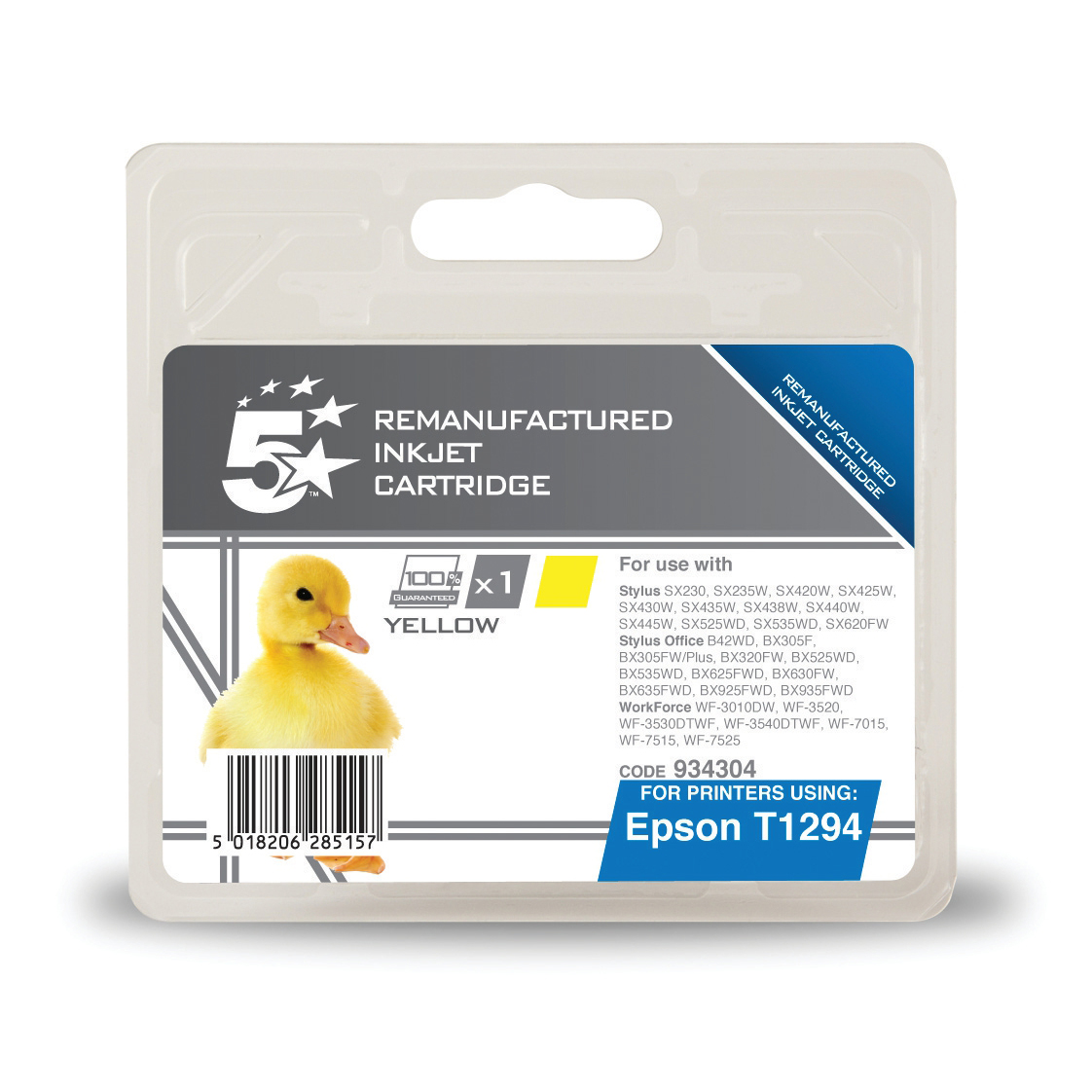 5 Star Office Remanufactured Inkjet Cartridge Page Life 545pp 7ml Yellow [Epson T1294 Alternative]