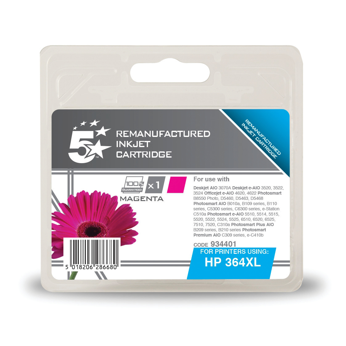 5 Star Office Reman Inkjet Cartridge HY Page Life 750pp 6ml Magenta [HP No.364XL CB324EE Alternative]