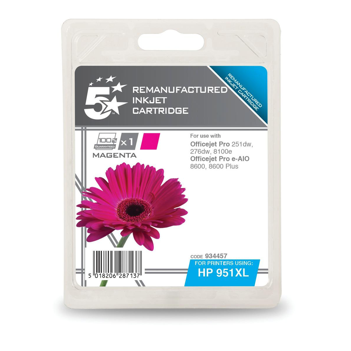 5 Star Office Remanufactured Inkjet Cartridge HY 1500pp 17ml Magenta [HP No.951XL CN047AE Alternative]