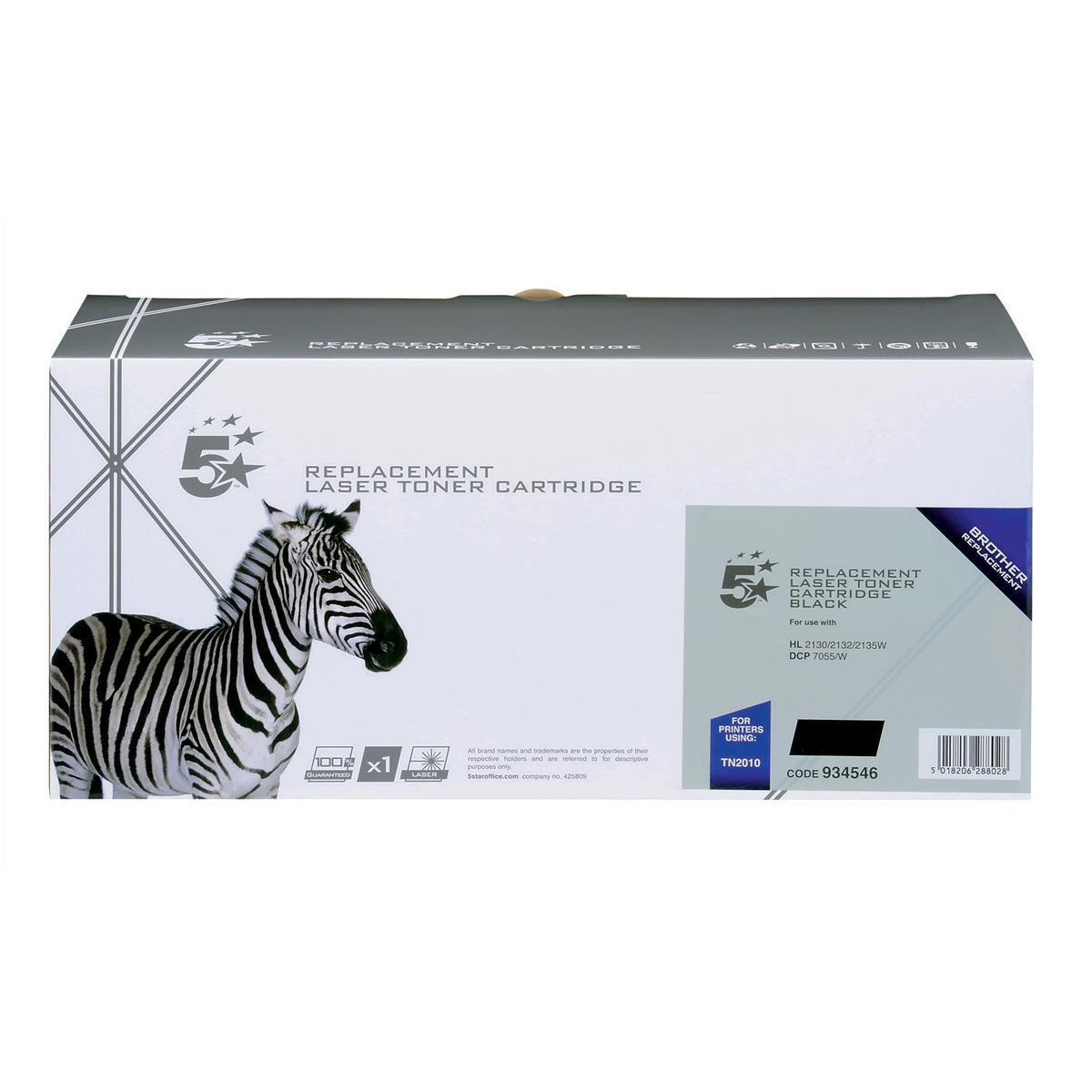 Laser Toner Cartridges 5 Star Office Remanufactured Laser Toner Cartridge Page Life 1000pp Black Brother TN2010 Alternative