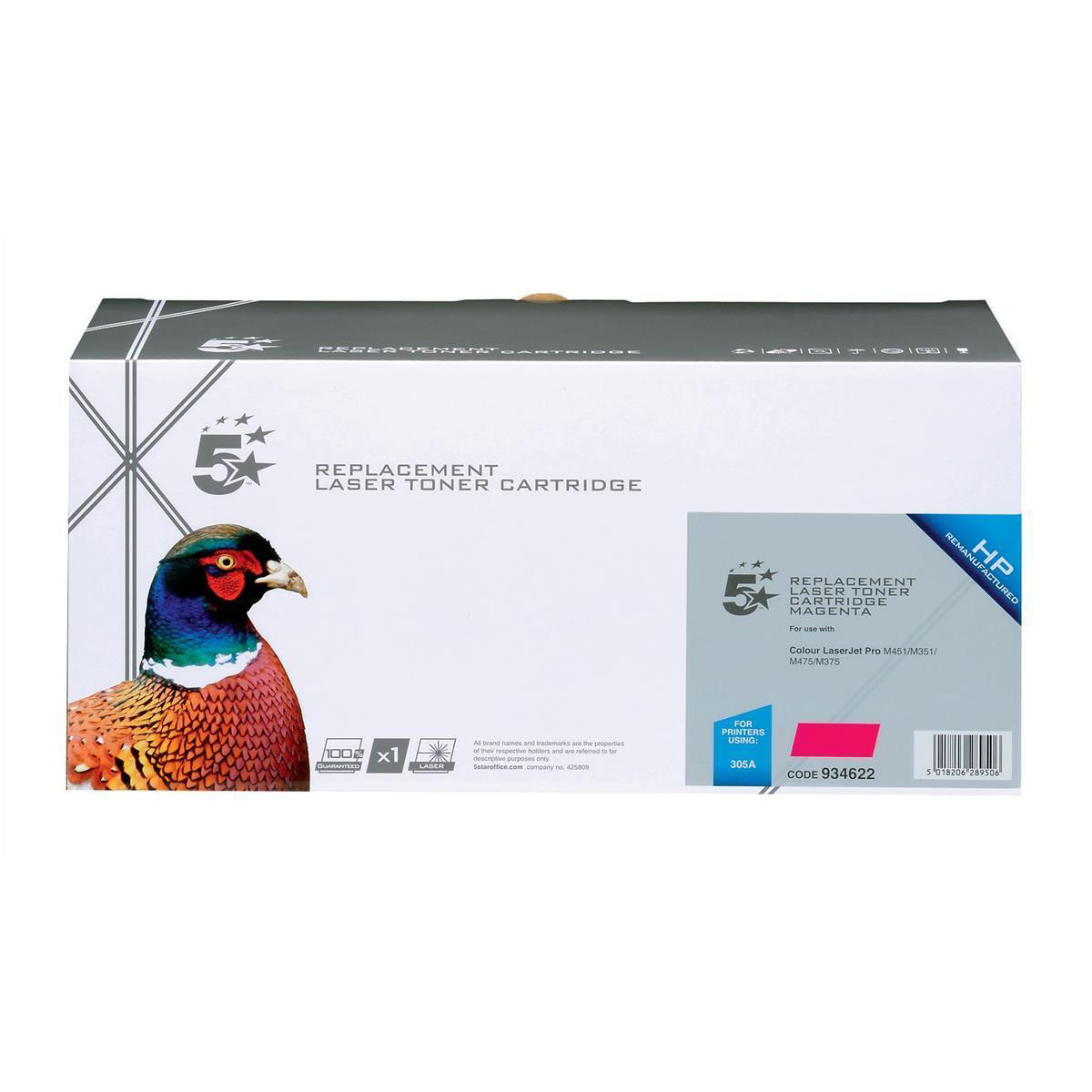 5 Star Office Remanufactured Laser Toner Cartridge 2600pp Magenta [HP 305A CE413A Alternative]