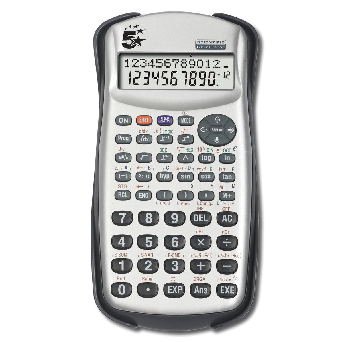 Scientific Calculator 5 Star Office Scientific Calculator 2 Line Display 279 Functions 84.5x19x164.5mm Silver/Black