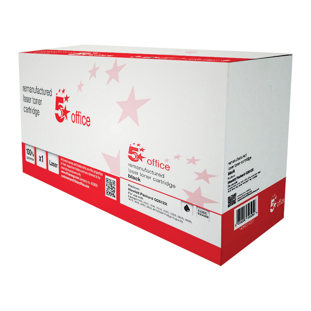 5 Star Office Remanufactured Laser Toner Cartridge 4000pp Black [HP 12A Q2612X Alternative]