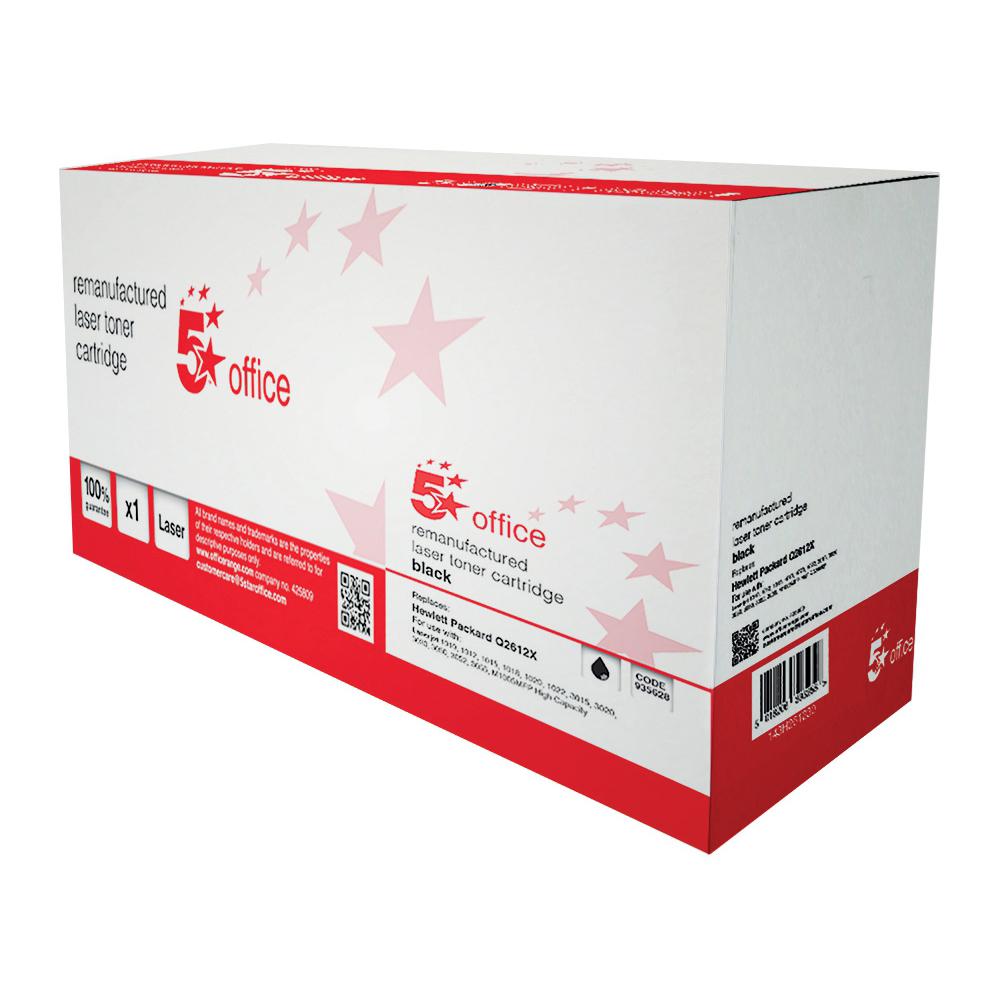 5 Star Office Remanufactured Laser Toner Cartridge 4000pp Black [HP 12X Q2612X Alternative]