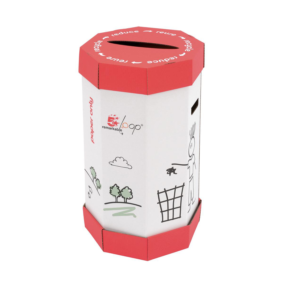 5 Star Facilities Remarkable Loop Paper Recycling Office Waste Bin 60 Litres [Pack 5]