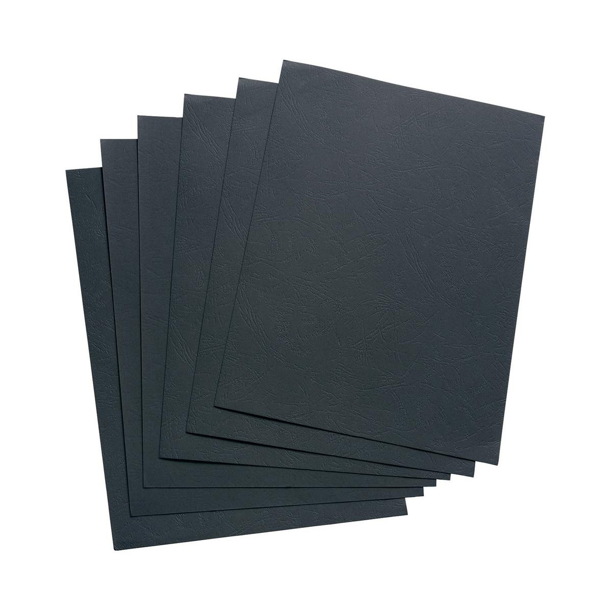 Cover Boards 5 Star Office Binding Covers 240gsm Leathergrain A4 Black Pack 100