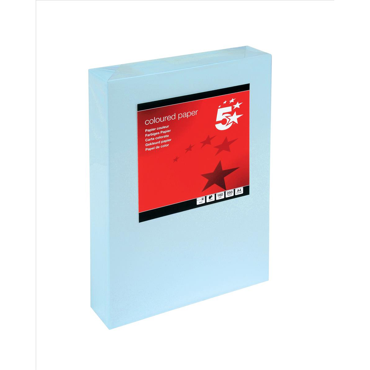Card (160g+) 5 Star Office Coloured Card Multifunctional 160gsm A4 Light Blue 250 Sheets