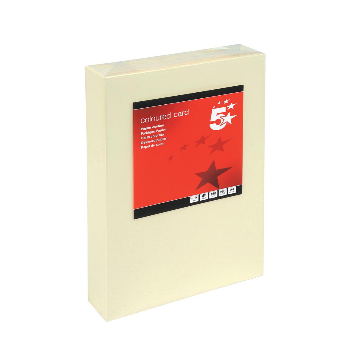 Card (160g+) 5 Star Office Coloured Card Multifunctional 160gsm A4 Light Cream 250 Sheets