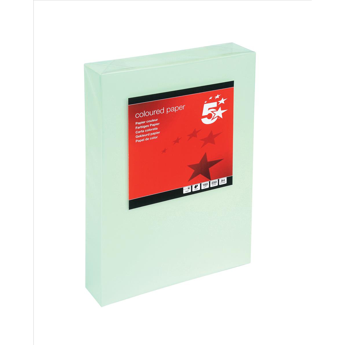 Card (160g+) 5 Star Office Coloured Card Multifunctional 160gsm A4 Light Green 250 Sheets