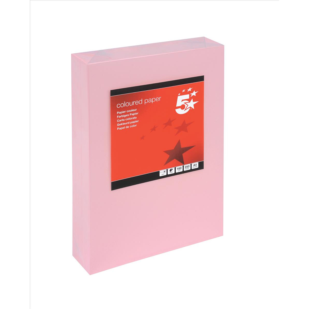 Card (160g+) 5 Star Office Coloured Card Multifunctional 160gsm A4 Light Pink 250 Sheets