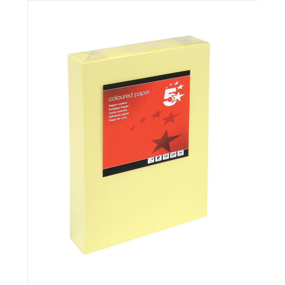 Card (160g+) 5 Star Office Coloured Card Multifunctional 160gsm A4 Light Yellow 250 Sheets