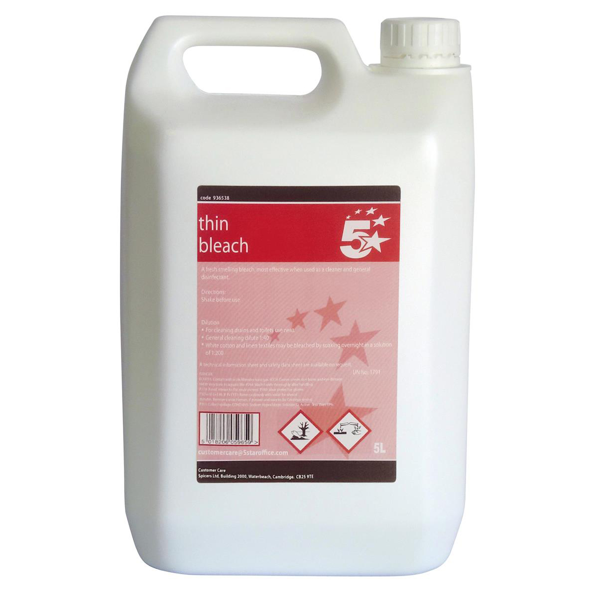 Cleaning Chemicals 5 Star Facilities Thin Bleach General Purpose Cleaner 5 Litre
