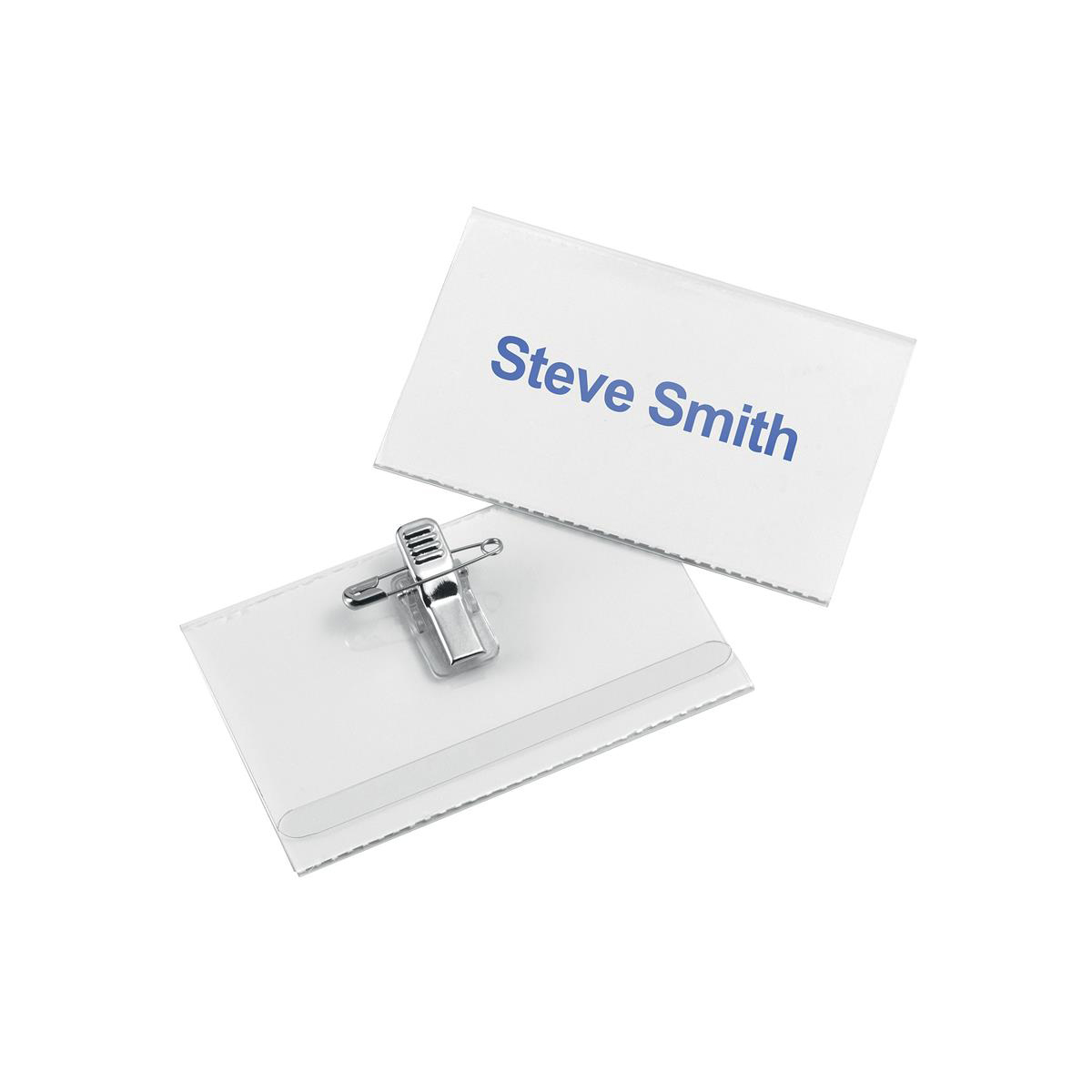 Badges or badge holders 5 Star Office Name Badge with Combi-Clip 54x90mm Pack 50