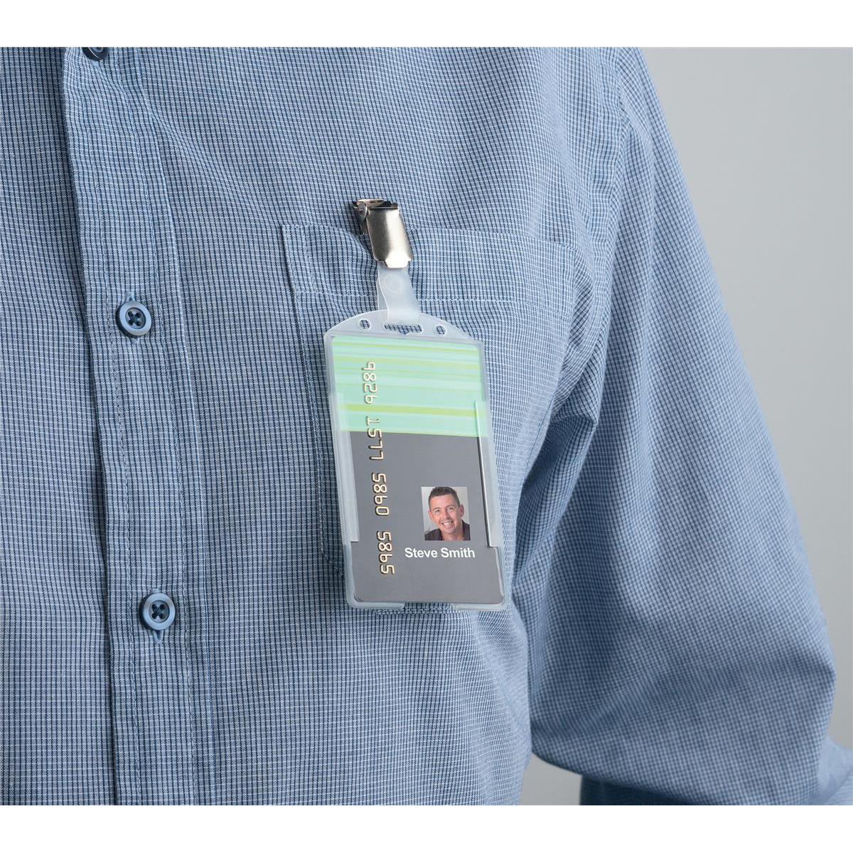 5 Star Office Security Pass Holder with Rotating Metal Clip (Portrait or Landscape) 60x90mm Pack 25