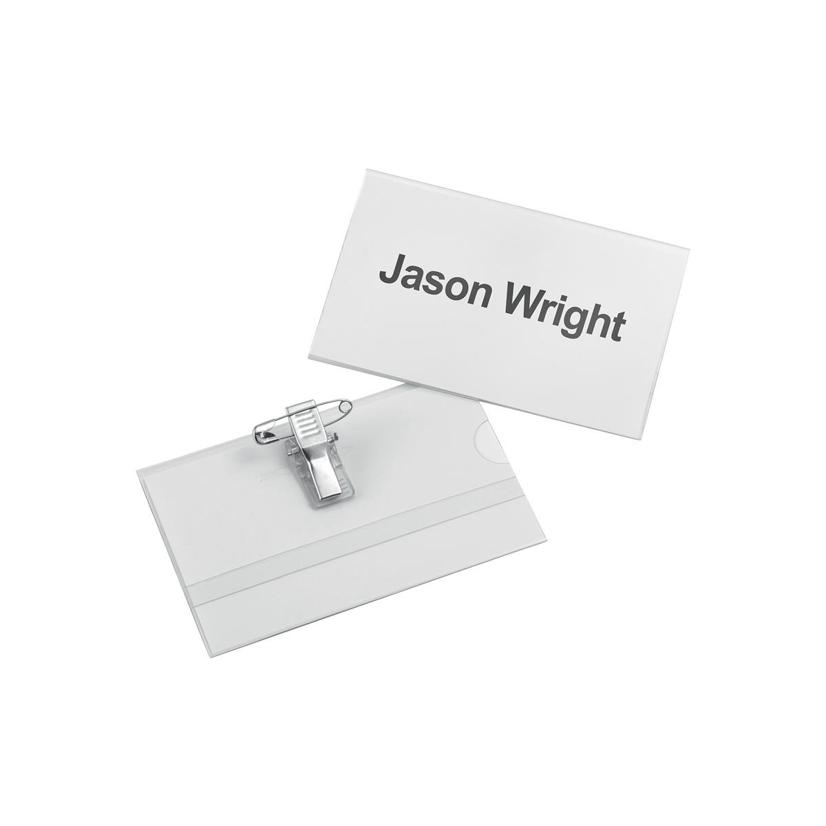 Holders 5 Star Office Name Badge with Combi-Clip PVC 54x90mm Pack 25