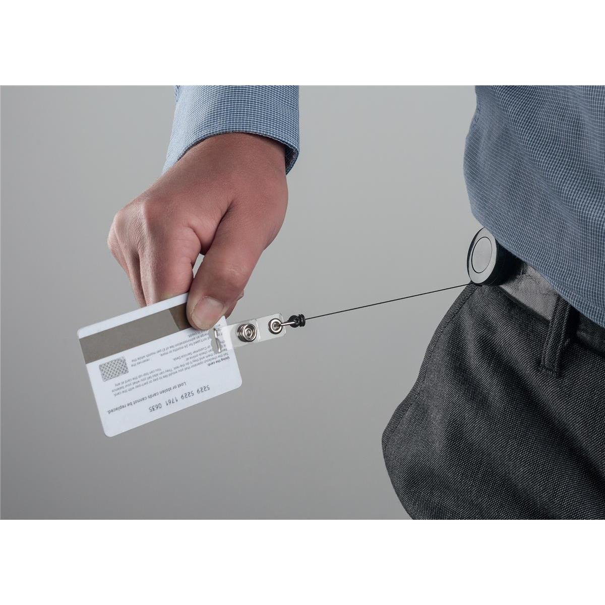 5 Star Office Badge Reel 600mm Metal Clip Cord Rewind Pack 10
