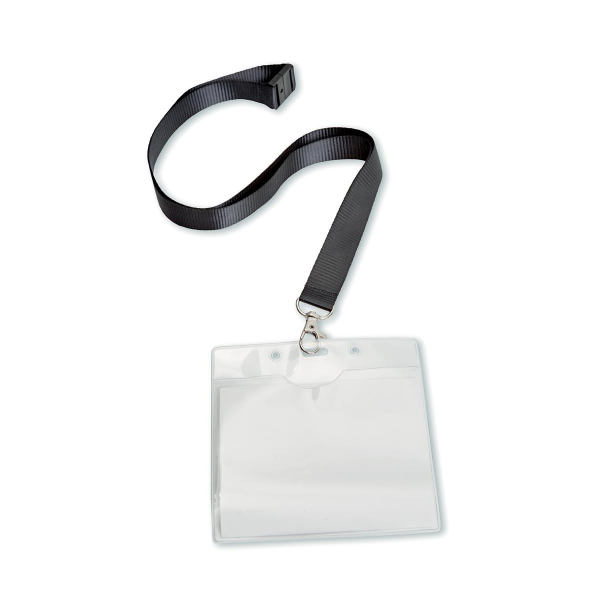 Holders 5 Star Office PVC Name Badge with Textile Lanyard 110x90mm Pack 10