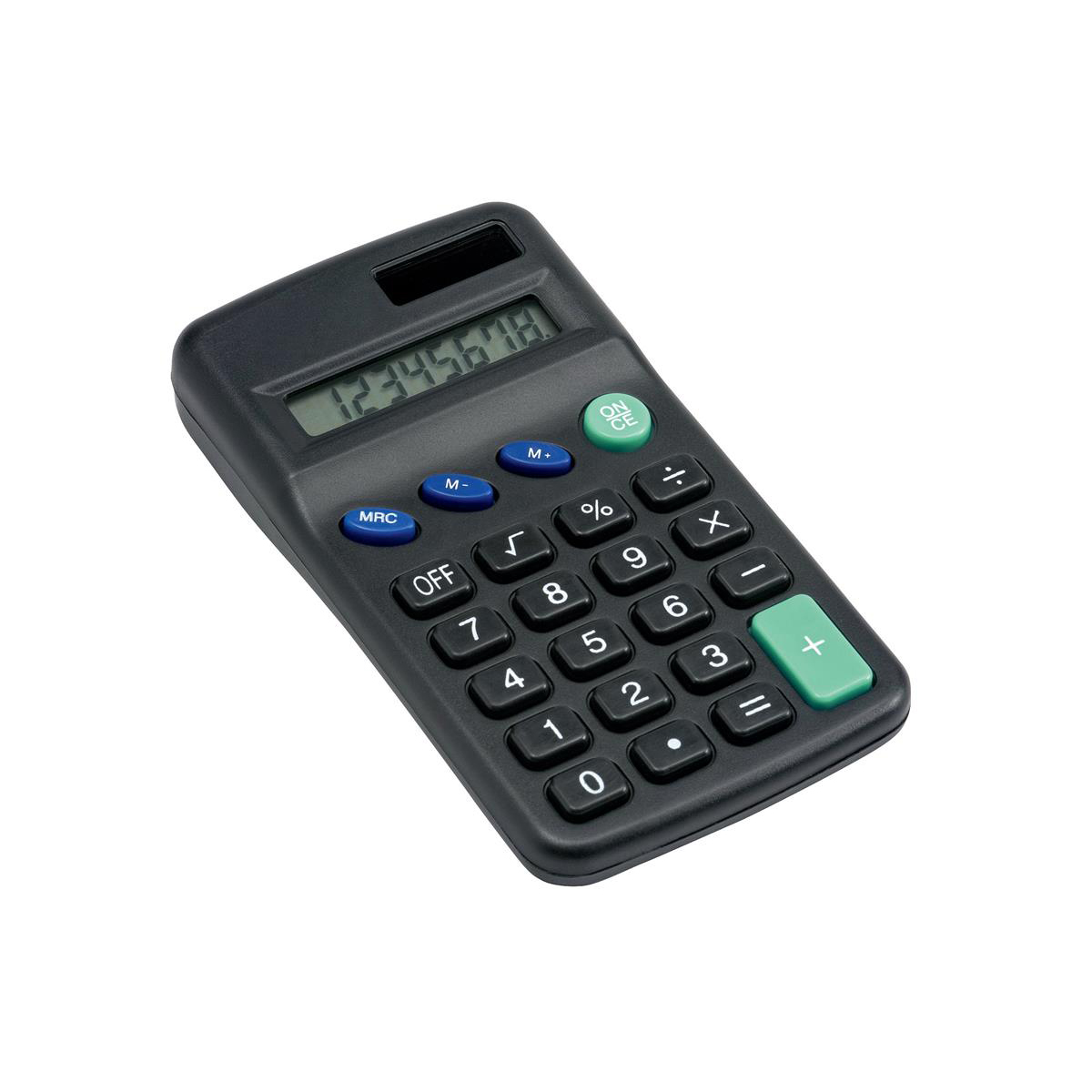 Handheld Calculator 5 Star Office Pocket Calculator 8 Key Display Solar and Battery Power 63x17x113mm Black