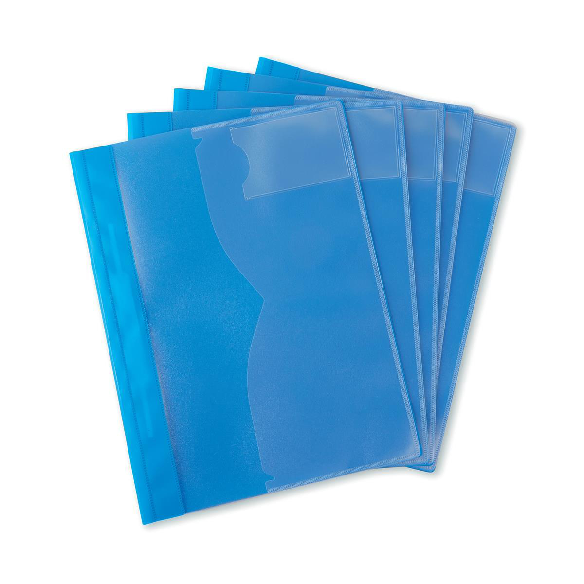 5 Star Office Document Folder Task File Semi-rigid Clear Pocket Front Cover A4 Blue Pack 5