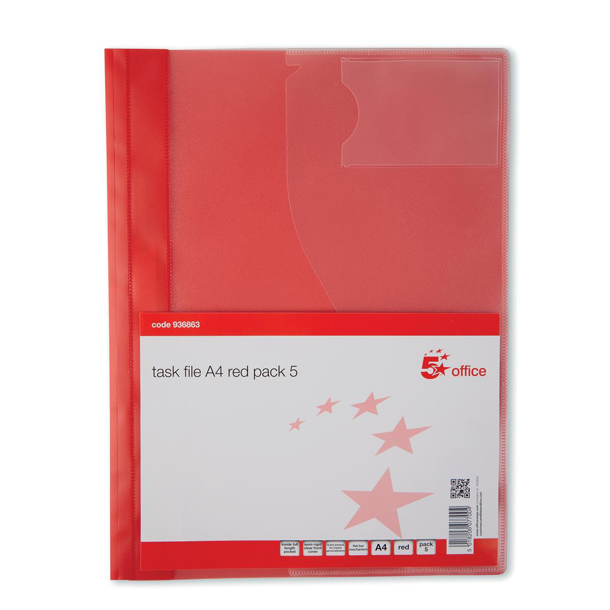 5 Star Office Document Folder Task File Semi-rigid Clear Pocket Front Cover A4 Red [Pack 5]