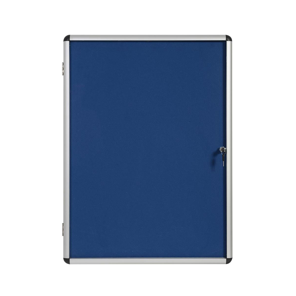 5 Star Office Noticeboard Glazed Lockable Aluminium Trim Blue Felt Board W1200xH900mm