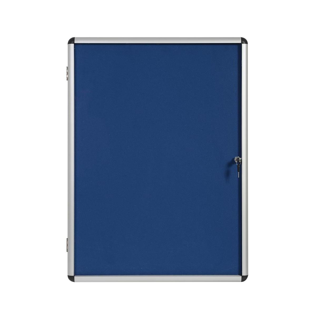 5 Star Office Noticeboard Glazed Lockable Aluminium Trim Blue Felt Board H1200xW900mm