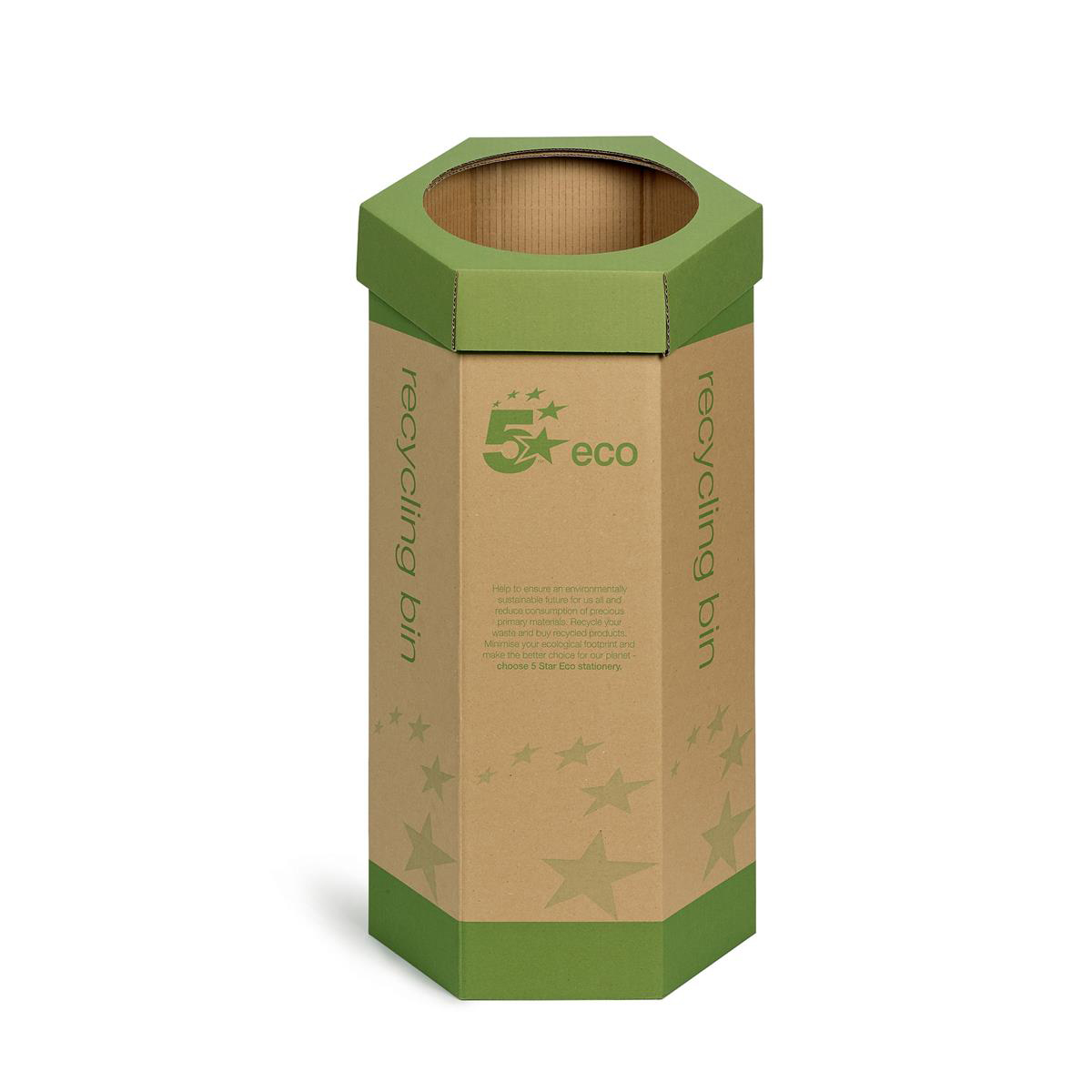 5 Star Eco Recycling Bin for Paper 120 Litres Base of 355mm Height of 679mm Green/Brown Pack 3