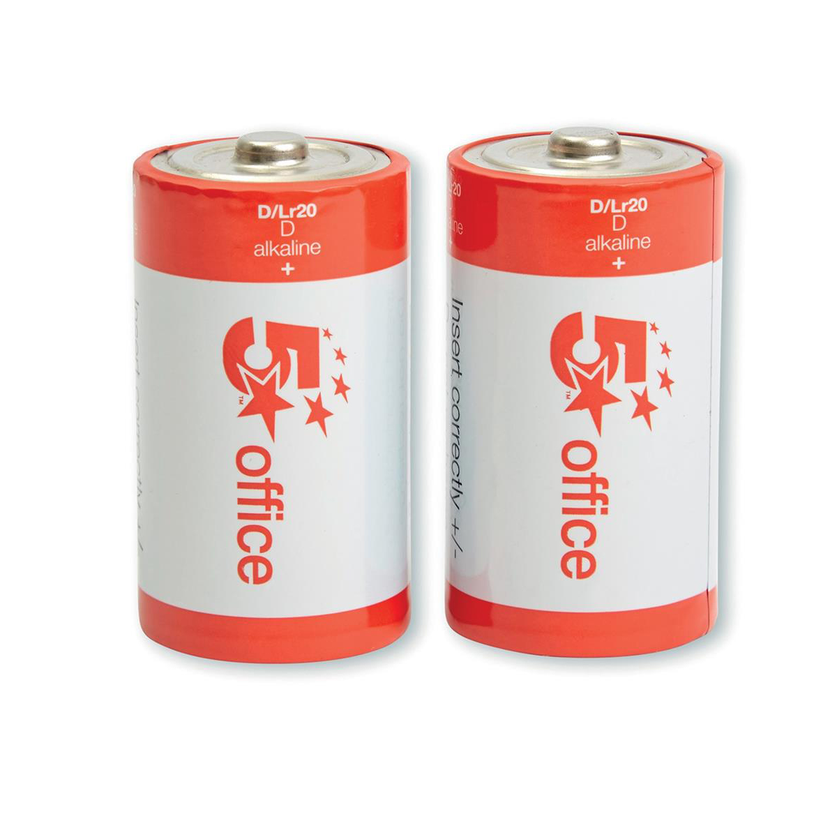 5 Star Office Batteries D / LR20 [Pack 2]