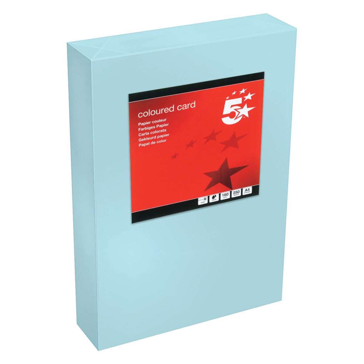Card (160g+) 5 Star Office Coloured Card Tinted 160gsm A4 Medium Blue Pack 250