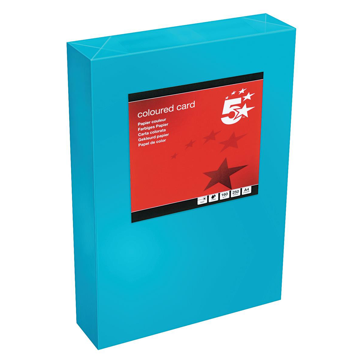 Card (160g+) 5 Star Office Coloured Card Tinted 160gsm A4 Deep Blue Pack 250