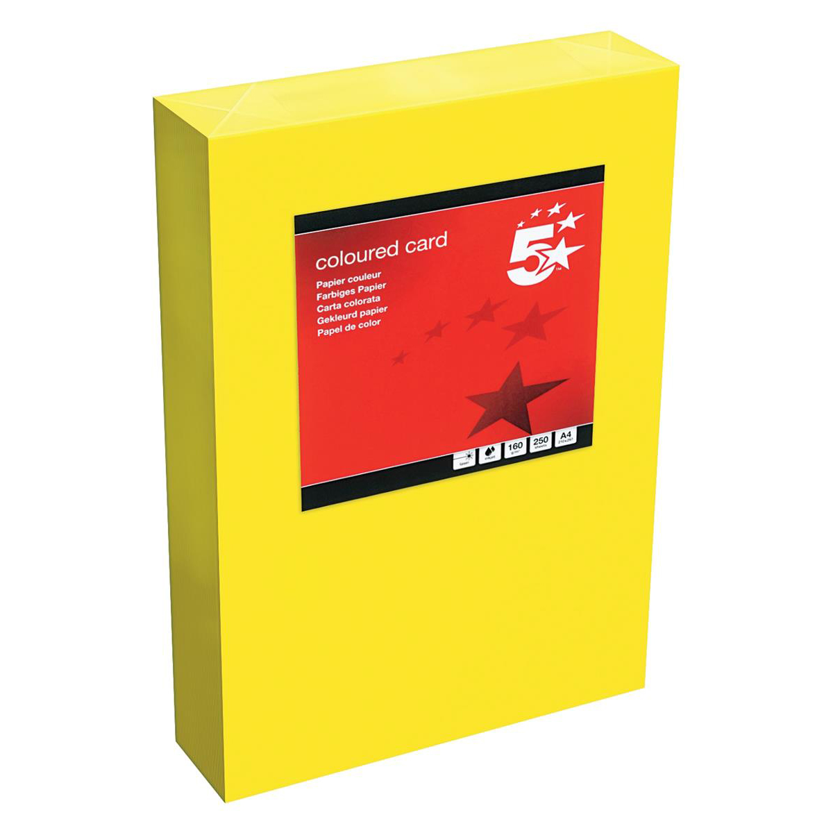 Card (160g+) 5 Star Office Coloured Card Tinted 160gsm A4 Deep Yellow Pack 250