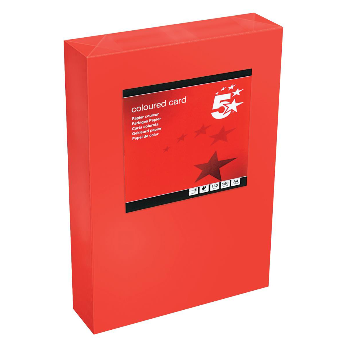 Card (160g+) 5 Star Office Coloured Card Tinted 160gsm A4 Deep Red Pack 250