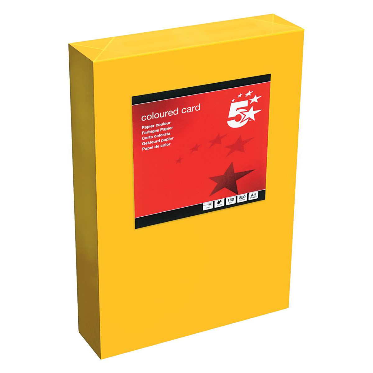 Card (160g+) 5 Star Office Coloured Card Tinted 160gsm A4 Deep Orange Pack 250