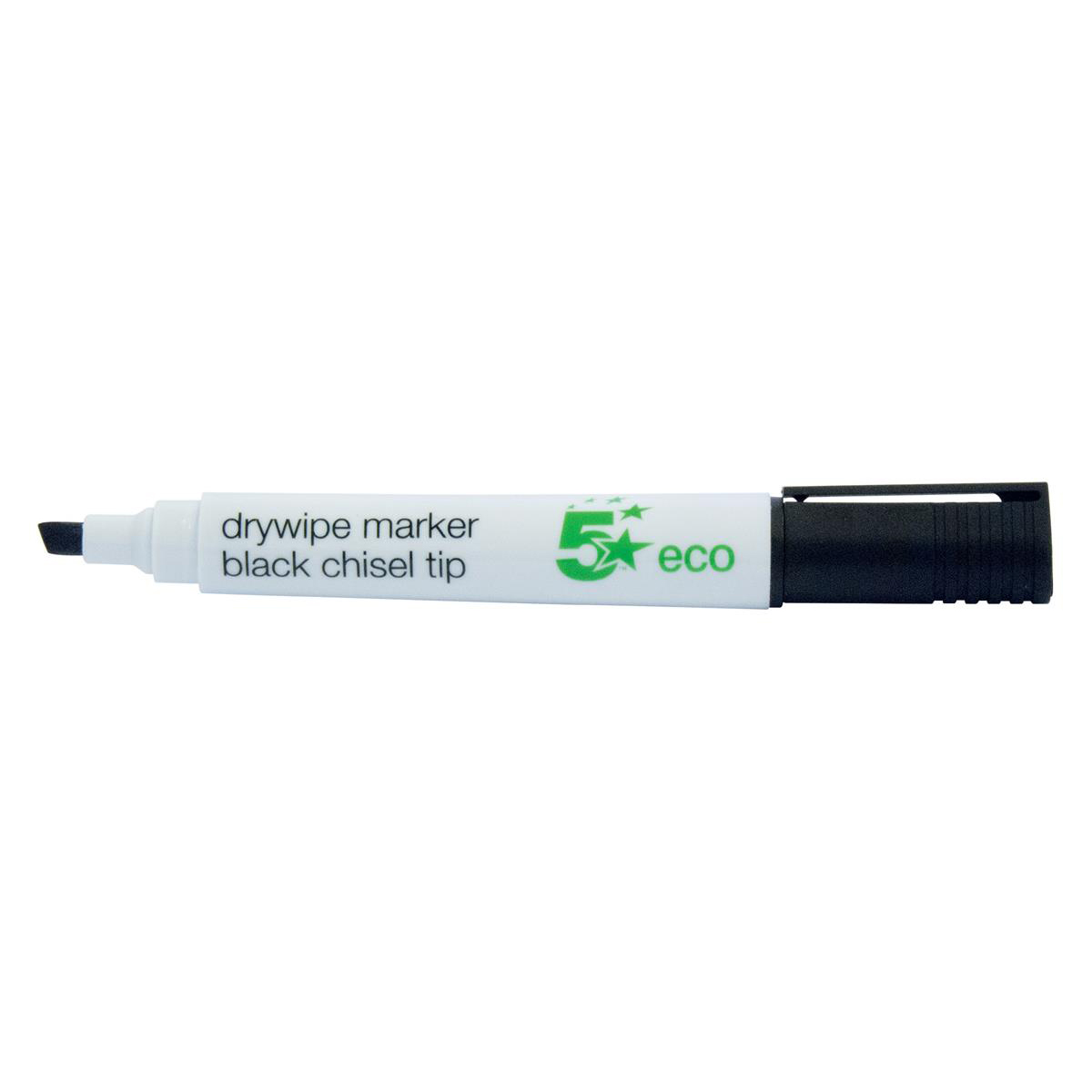 Image for 5 Star Eco Drywipe Marker Chisel Tip 2-5mm Line Black [Pack 10]