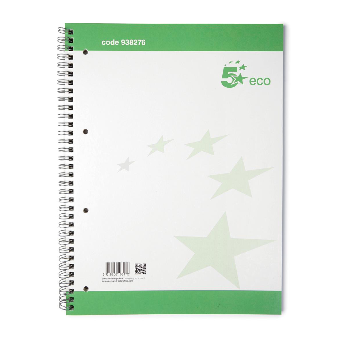 5 Star Eco Spiral Pad 70gsm Ruled Margin Perforated Punched 4 Holes 100pp A4+ Pack 10