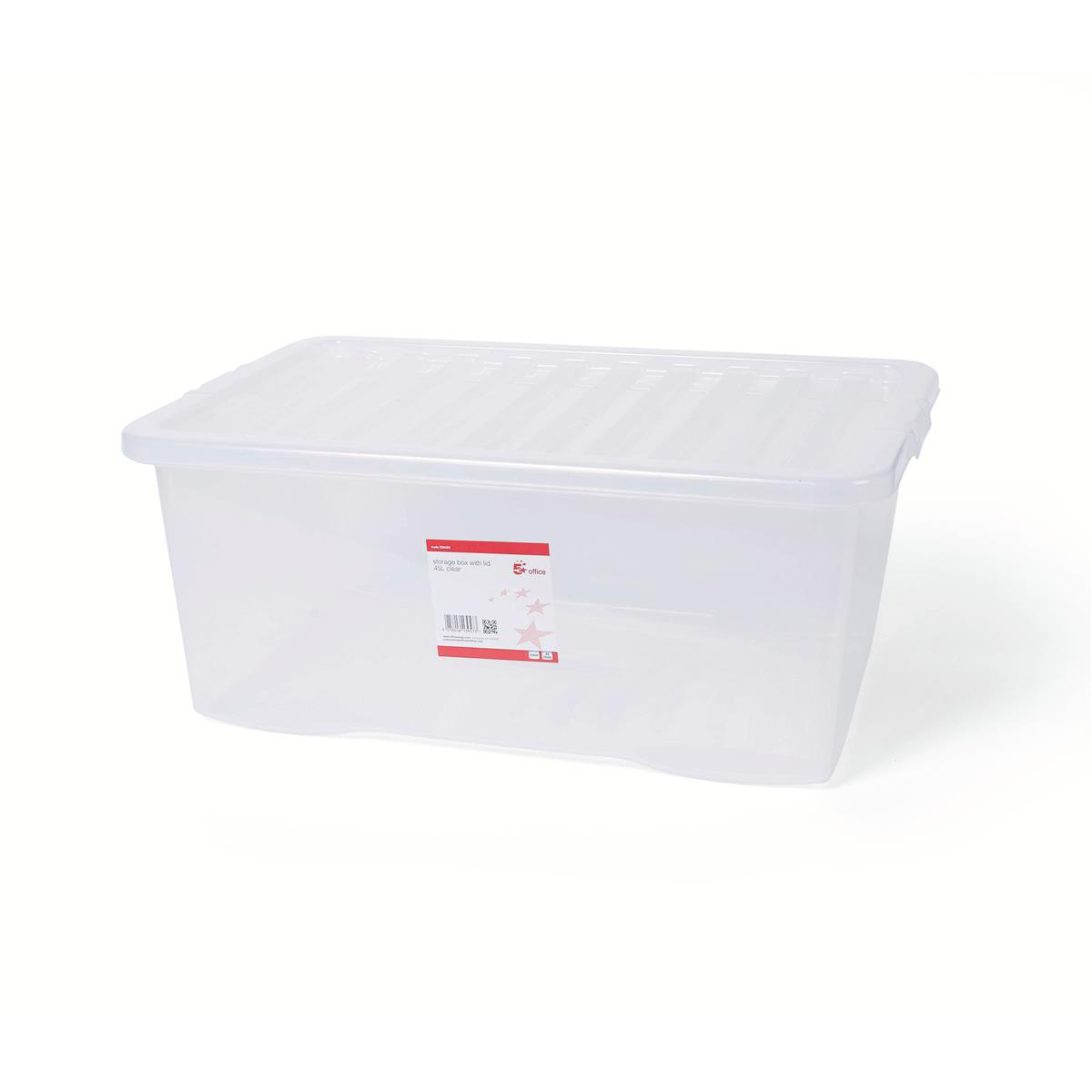 Storage Boxes 5 Star Office Storage Box Plastic with Lid Stackable 45 Litre Clear