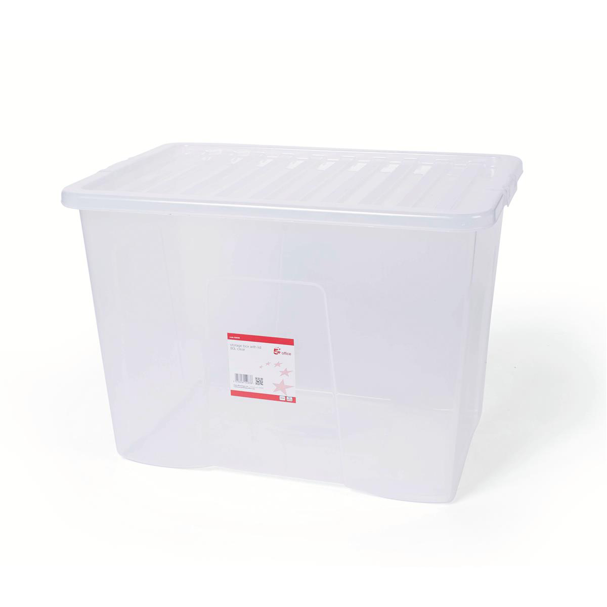 Storage Boxes 5 Star Office Storage Box Plastic with Lid Stackable 80 Litre Clear